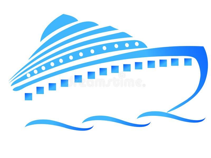 Navio ou cruzador azul ilustração stock