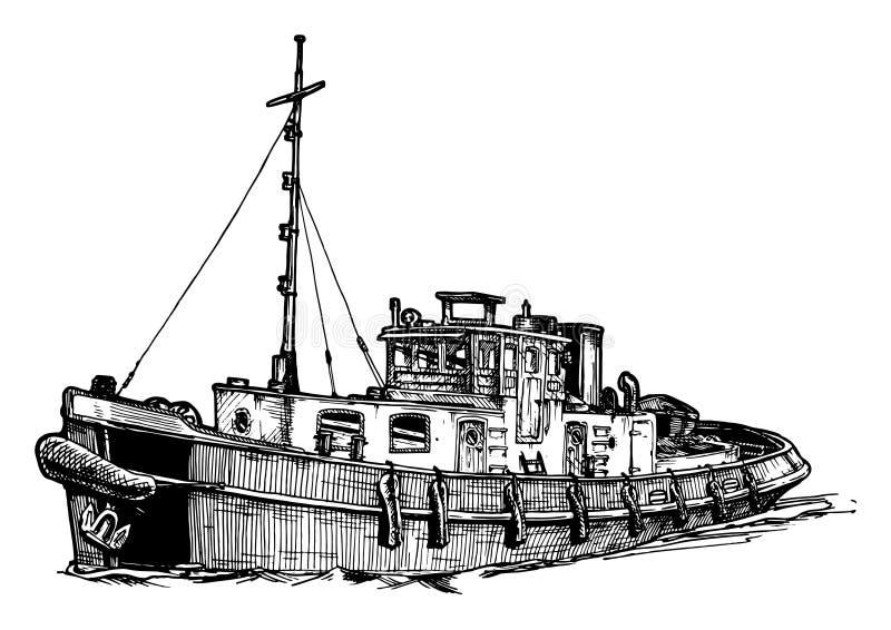 Navio pequeno do motor ilustração royalty free
