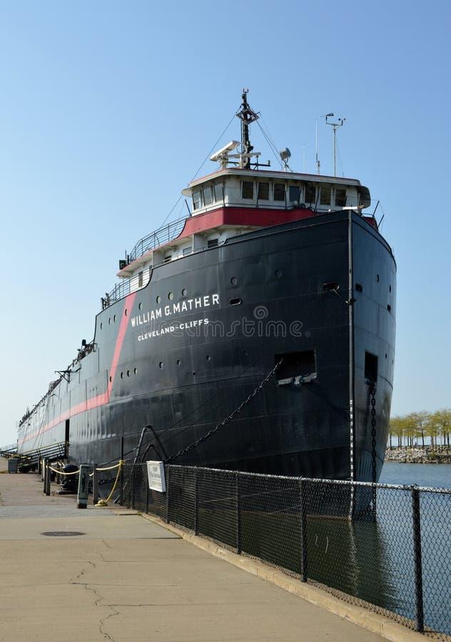 Navio a vapor William G Mather Maritime Museum Cleveland, Ohio imagens de stock royalty free