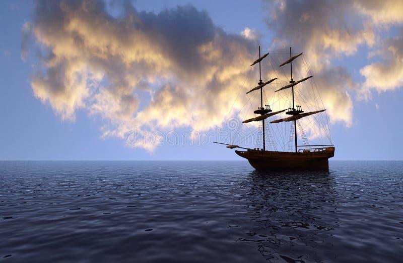 Navio velho no por do sol