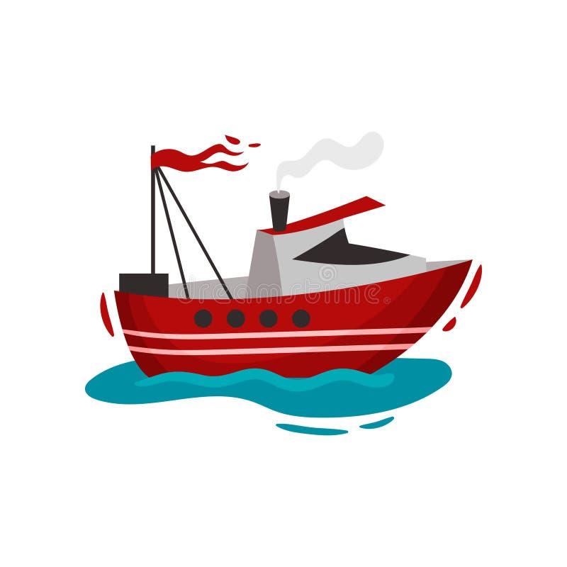Navio vermelho do motor na água Ilustra??o do vetor no fundo branco ilustração stock