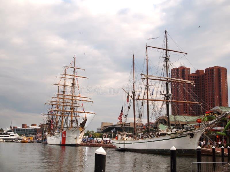 Navios altos na celebração de Baltimore Maryland fotografia de stock