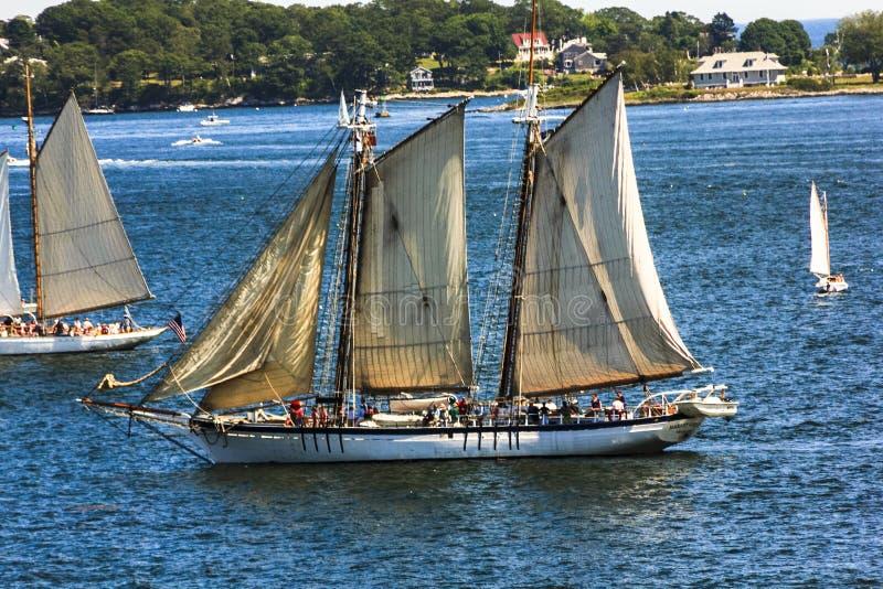 Navios altos que exercem as águas bonitas do oceano da baía Portland de Casco, Maine foto de stock royalty free