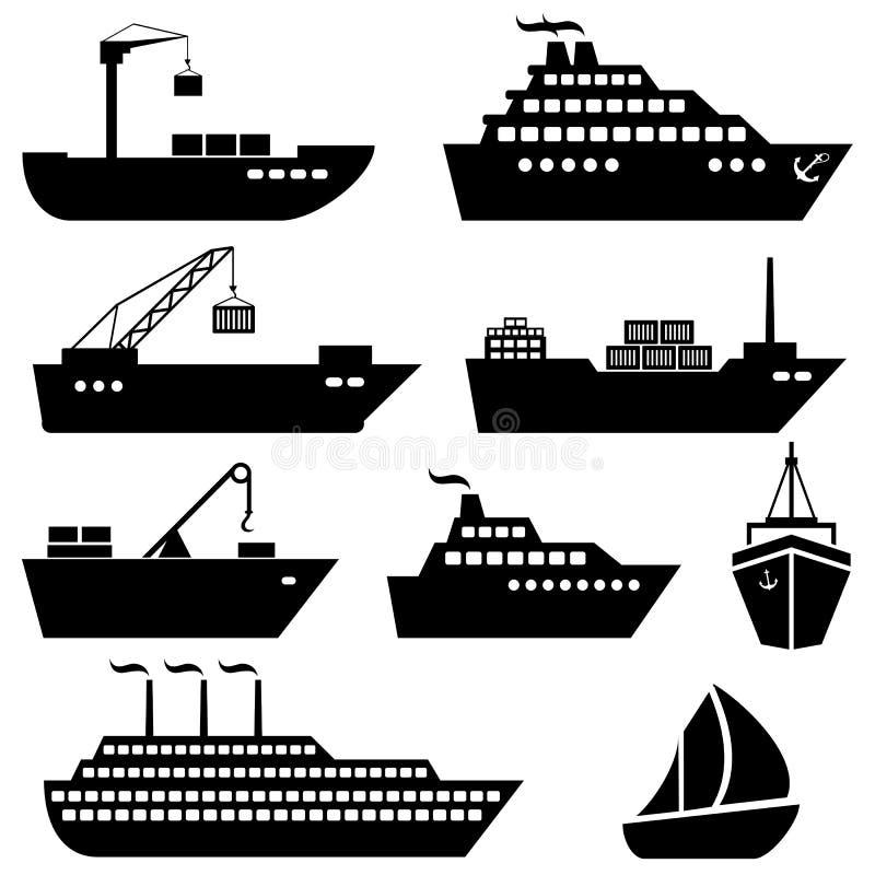 Navios, barcos, carga, logística e ícones do transporte ilustração stock