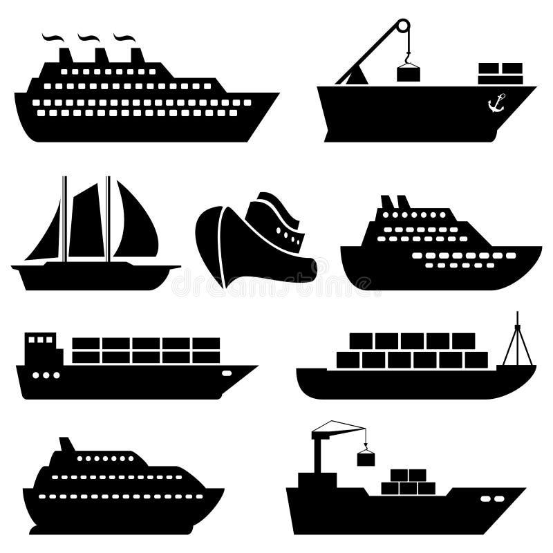 Navios, barcos, carga, logística e ícones do transporte ilustração do vetor