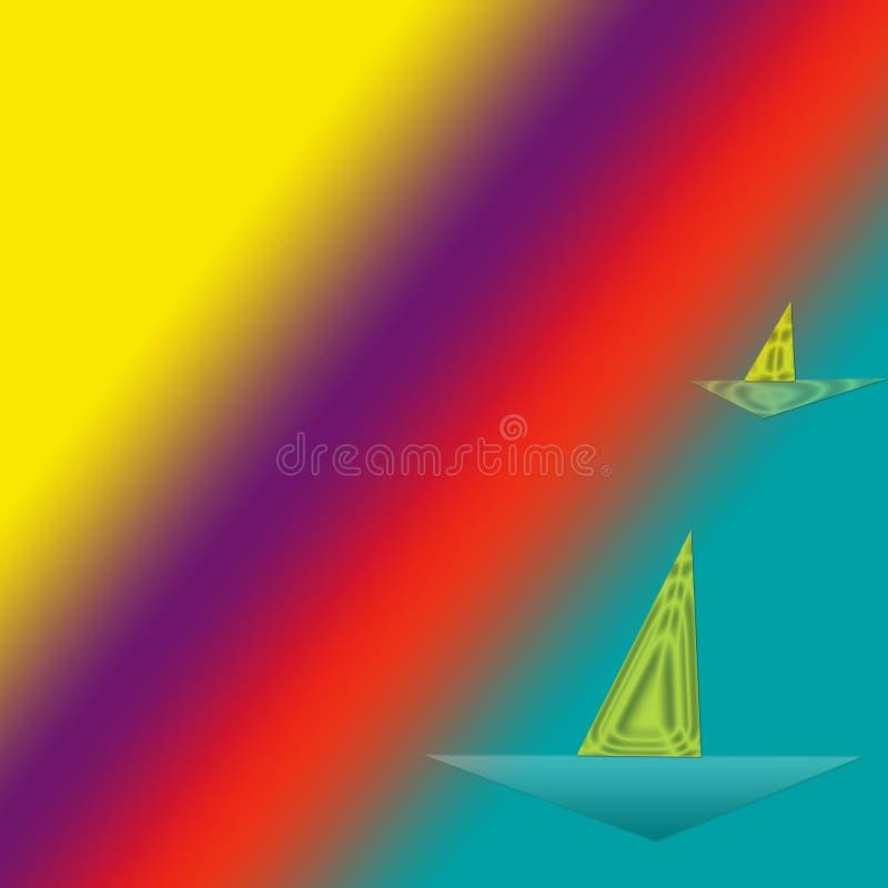 Navios com velas refletindo ilustração stock