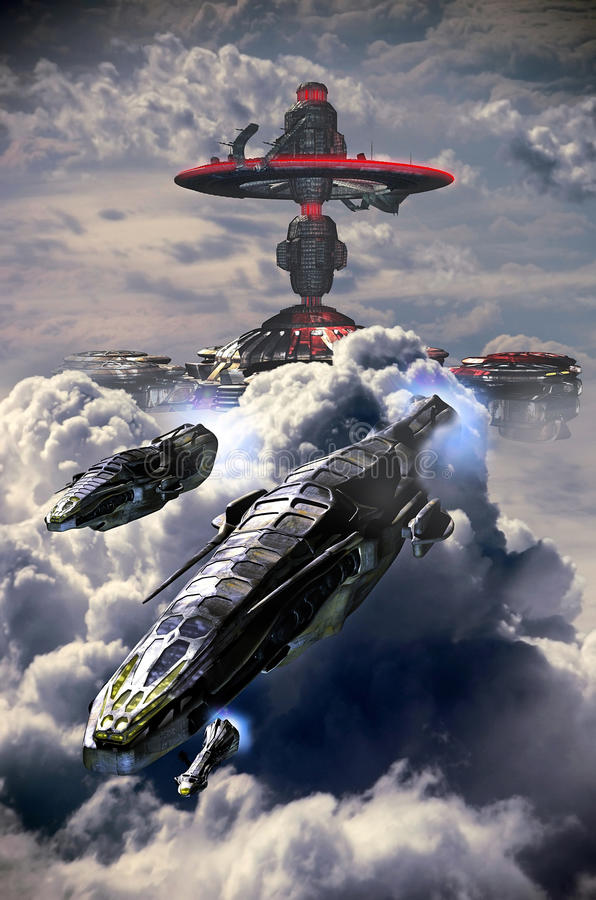 Navios das nuvens ilustração royalty free