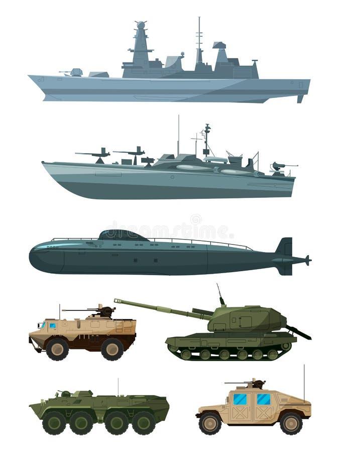 Navios de guerra e veículos blindados das forças terrestres As forças armadas transportam o apoio ilustração do vetor