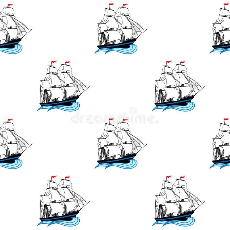Navios de navigação com velas brancas e as bandeiras vermelhas ilustração stock