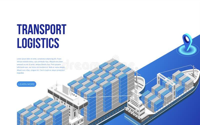 Navios do frete com os recipientes de carga perto da descrição do Web site ilustração do vetor