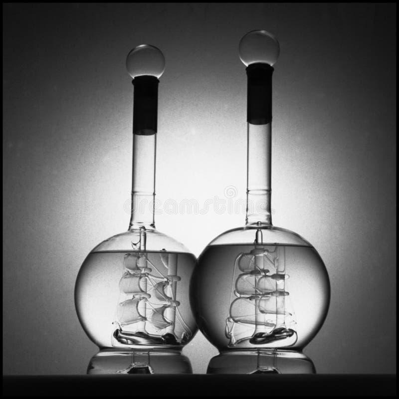 Navios do vidro em uns frascos imagem de stock royalty free