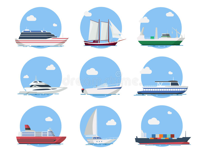 Navios e barcos no estilo liso ilustração do vetor