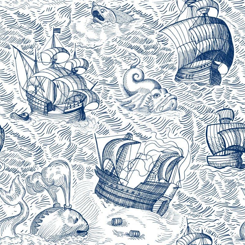 Navios e monstro ilustração royalty free