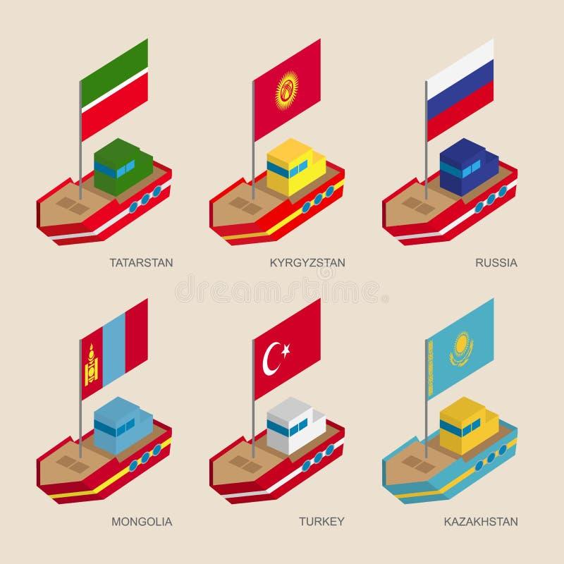 Navios isométricos com bandeiras: Rússia, Cazaquistão, Quirguizistão, Turquia, Tartaristão, Mongólia ilustração stock