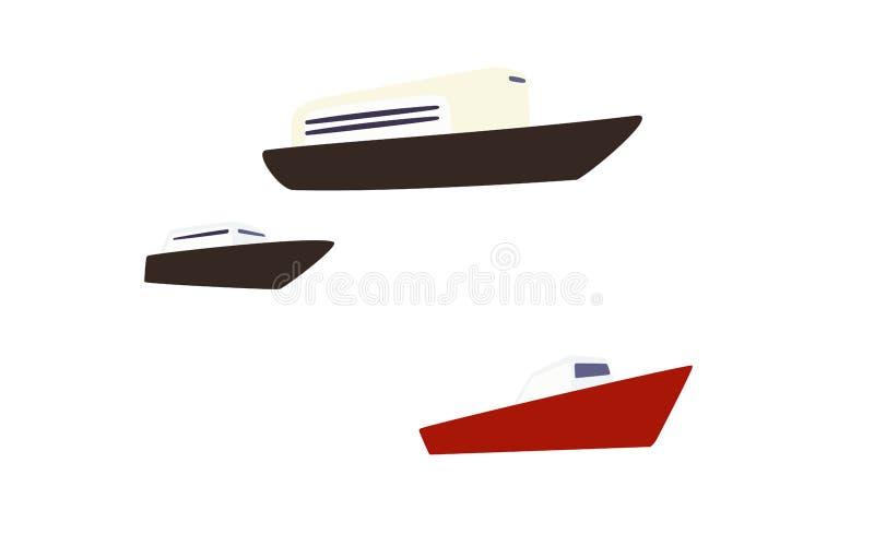 Navios vermelhos e pretos dos desenhos animados isolados no fundo branco ilustração do vetor