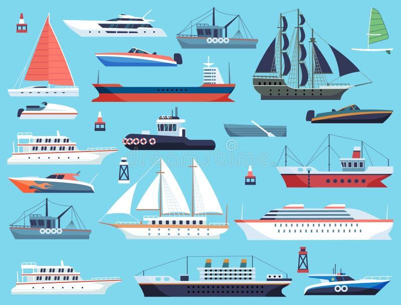 Navire dans le port Bateau de croisière et voilier à moteur, système de transport maritime à plate-forme vectorielle illustration de vecteur