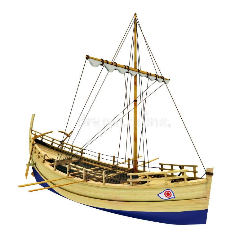 Navire marchand du grec ancien d'isolement sur le fond blanc illustration libre de droits