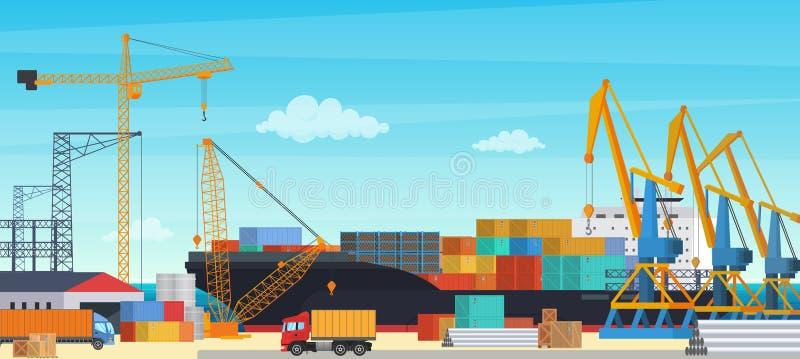 Navire porte-conteneurs de transportationt de logistique avec l'importation et l'exportation industrielles de grue dans la cour d illustration de vecteur