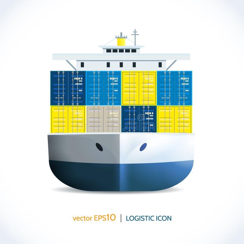 Navire porte-conteneurs logistique d'icône illustration de vecteur