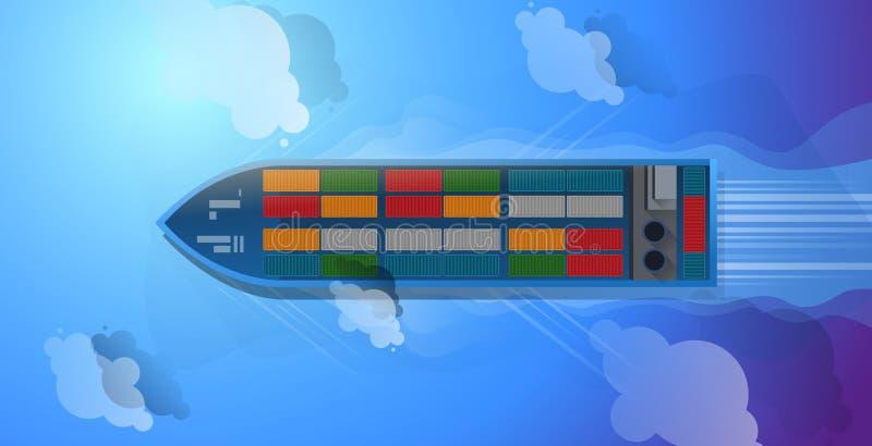 Navire porte-conteneurs Vue supérieure aérienne cargaison à héberger Conception plate d'illustration de vecteur illustration stock