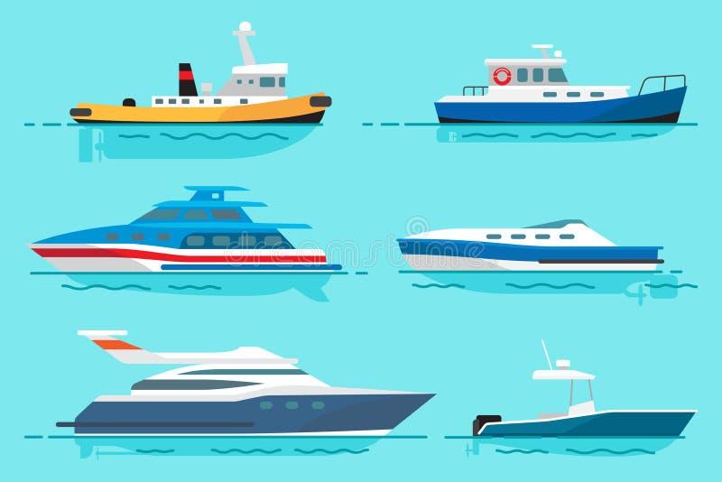 Navires avec le divers ensemble d'illustrations de fonctions illustration libre de droits