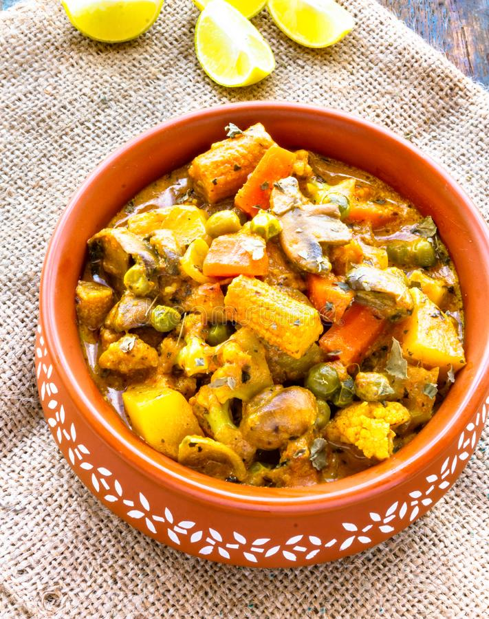 Navratan Korma - um do prato de vegetariano o mais popular da Índia fotografia de stock royalty free