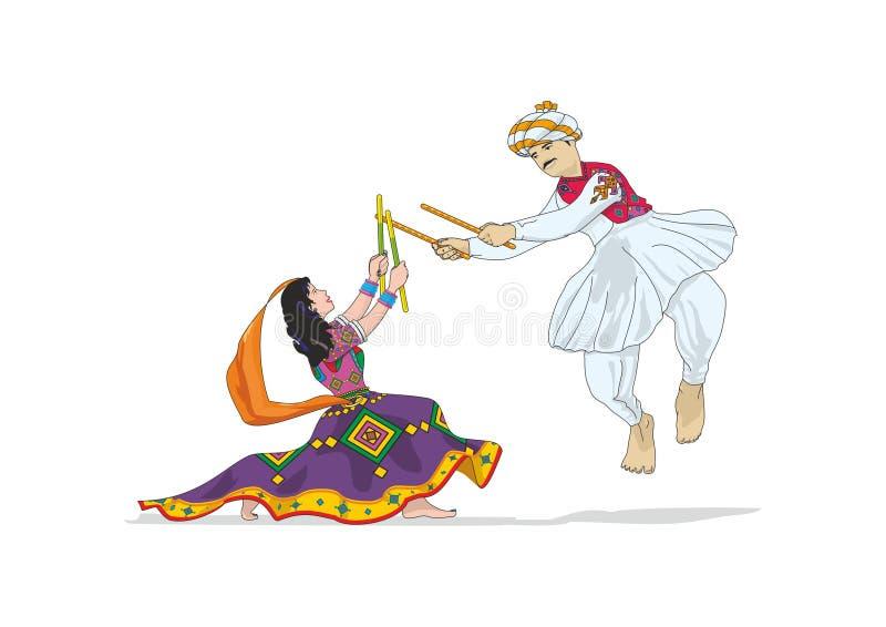 Navratri, Daandiyaa: Vetor, ilustração ilustração stock