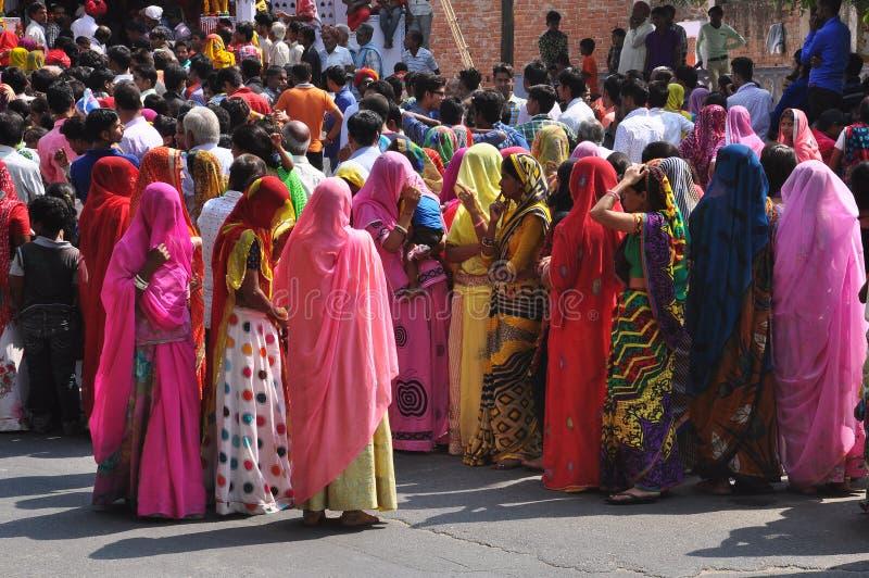 Navratri Hindu festival. Colorfully dressed Indian women stock image