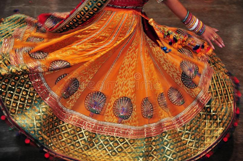 Dancing girl in action, Abstract of colorful costume with motion effect. Navratri is a Hindu festival, dedicated to the worship of Goddess Durga and her nine stock images