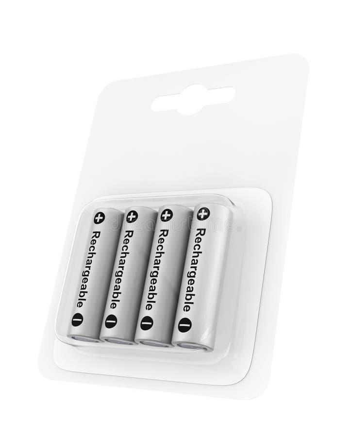 Navulbare aa-Ingepakte Batterijblaar het 3d teruggeven royalty-vrije illustratie