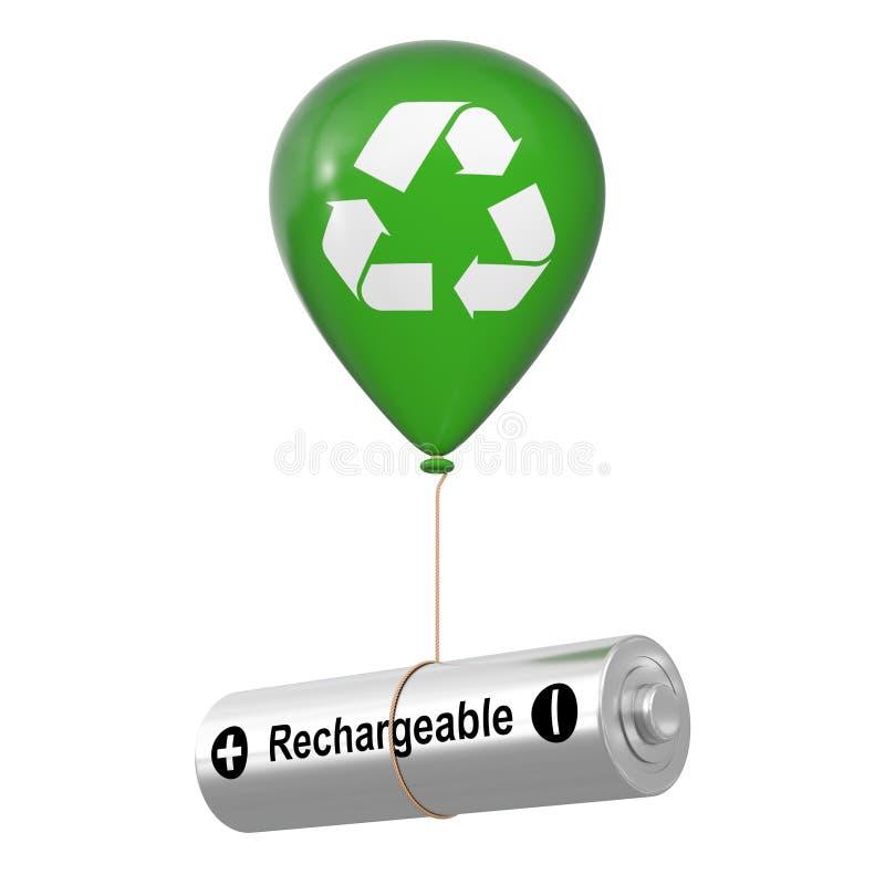 Navulbare Batterij die met Groene Hellium-Ballon met het Kringloopteken van Eco drijven het 3d teruggeven stock illustratie