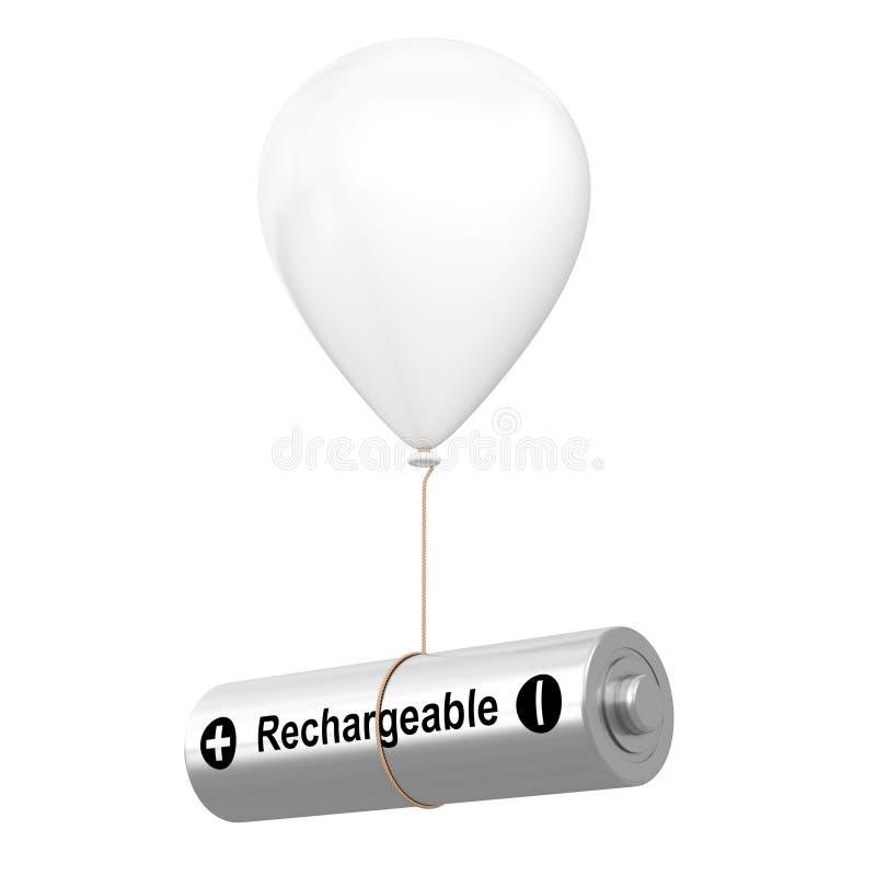 Navulbare Batterij die met Witte Hellium-Ballon drijven het 3d teruggeven vector illustratie