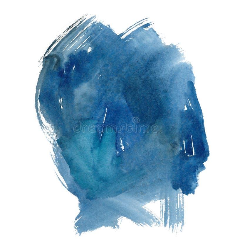 Navy aquarelle brushstrokes raster illustration. Dark blue watercolor paint patch isolated on white background. Indigo hand drawn paintbrush smears, undigested royalty free stock photos
