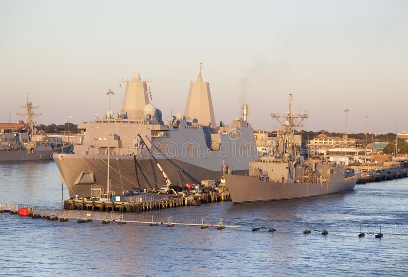 U.S. Navy Base. The navy base ships in a sunset light outside Norfolk town West Virginia stock images