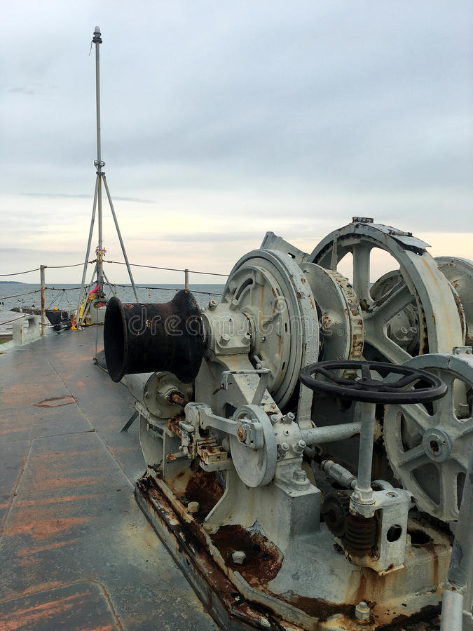 Navy Battle Ship. A view from the starboard side of the deck Navy Battle Ship royalty free stock images