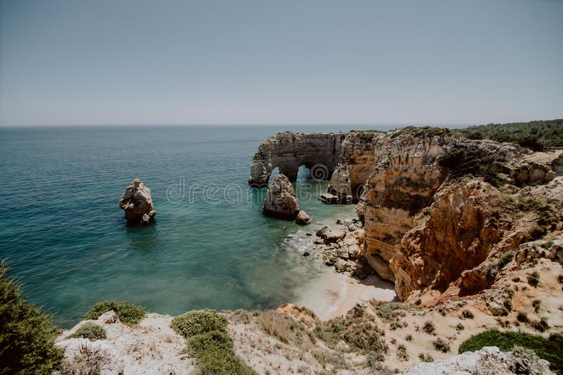 Navy Beach, Praia da Marinha, one of the most famous beaches of Portugal, located on the Atlantic coast in Lagoa Municipality, Alg royalty free stock image