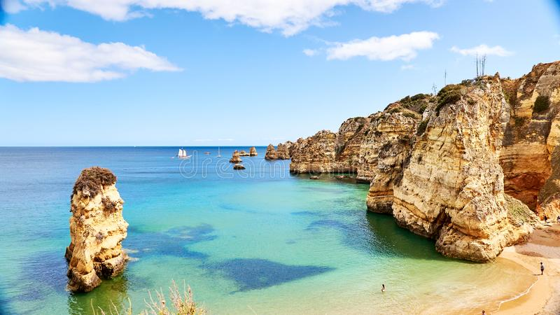 Marinha beach - one of the most famous beaches of Portugal, on the Atlantic coast in Lagoa Municipality, Algarve stock images