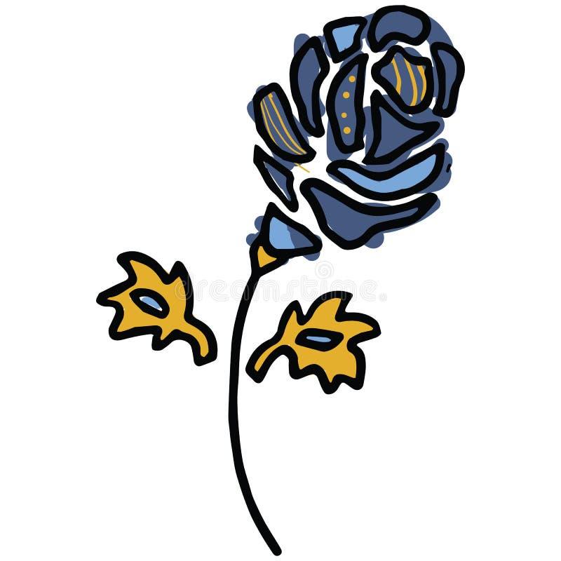 Navy blue bloom cartoon vector illustration motif set. Hand drawn isolated spring flower elements clipart for gardening blog, stock illustration