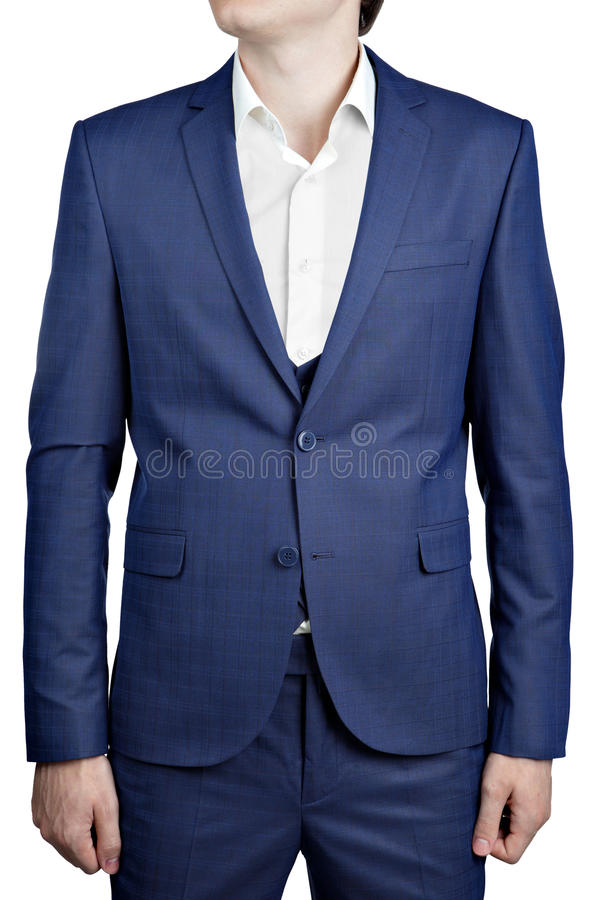 Navy Blue Checkered Suit Jacket On Prom Night For Man. Stock Image ...