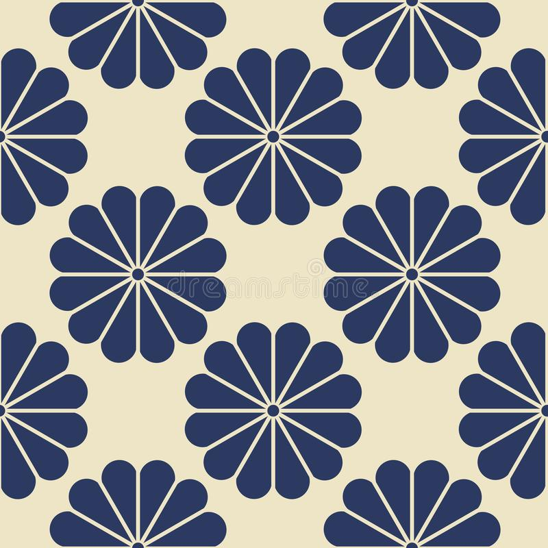 Navy Blue Geometric Flower Seamless Pattern on Neutral White background. vector illustration