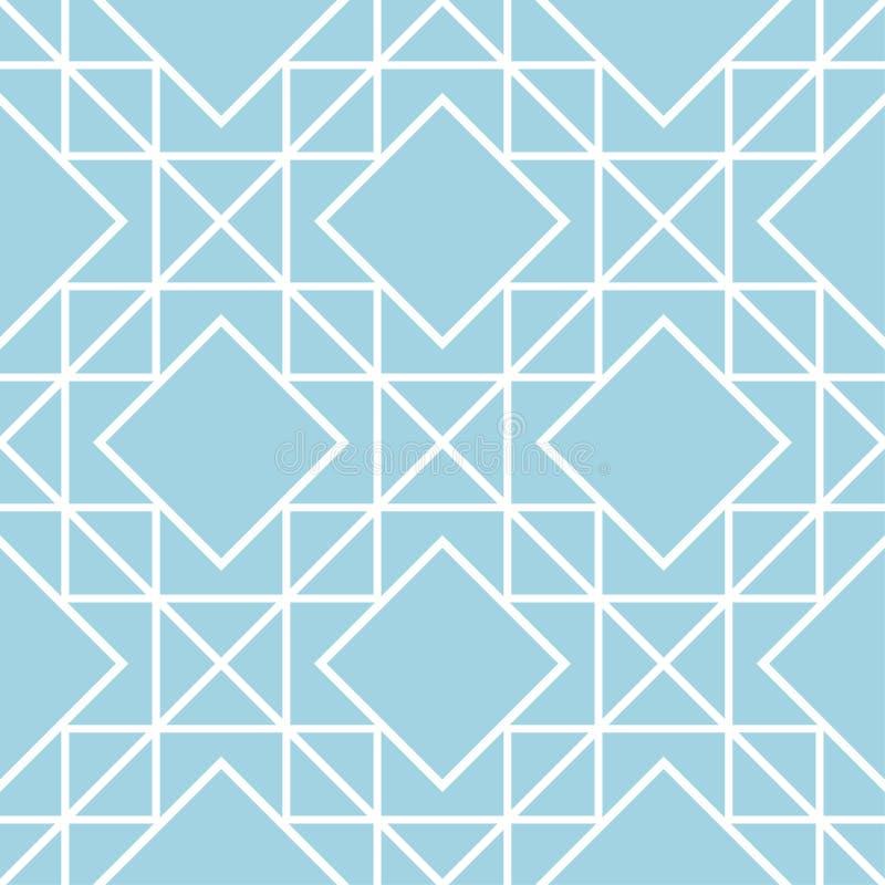 Navy blue geometric ornament. Seamless pattern stock illustration