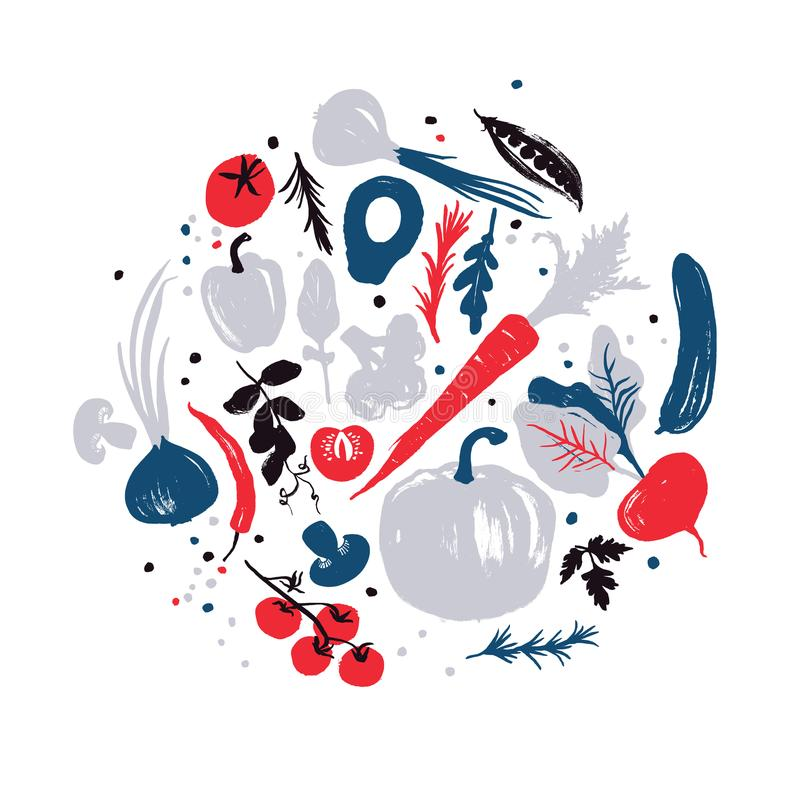 Navy-blue-red colored various of vegetables in a circle. Autumn crop. Farm market products. vector illustration