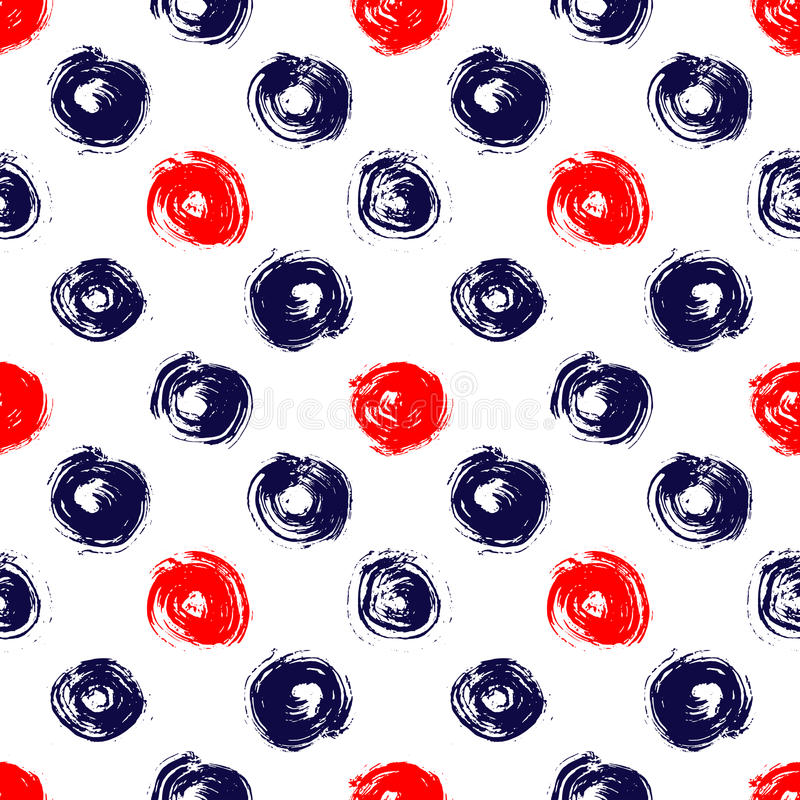 Navy blue red and white grunge circle brush strokes geometric seamless pattern, vector. Background royalty free illustration