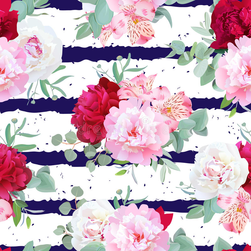 Free Navy Blue Striped Floral Seamless Vector Print With Peony, Alstroemeria Lily, Mint Eucaliptus On White. Stock Photo - 75400870