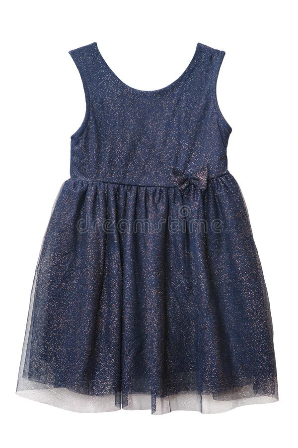 Navy blue tulle dress with golden sequins royalty free stock photos