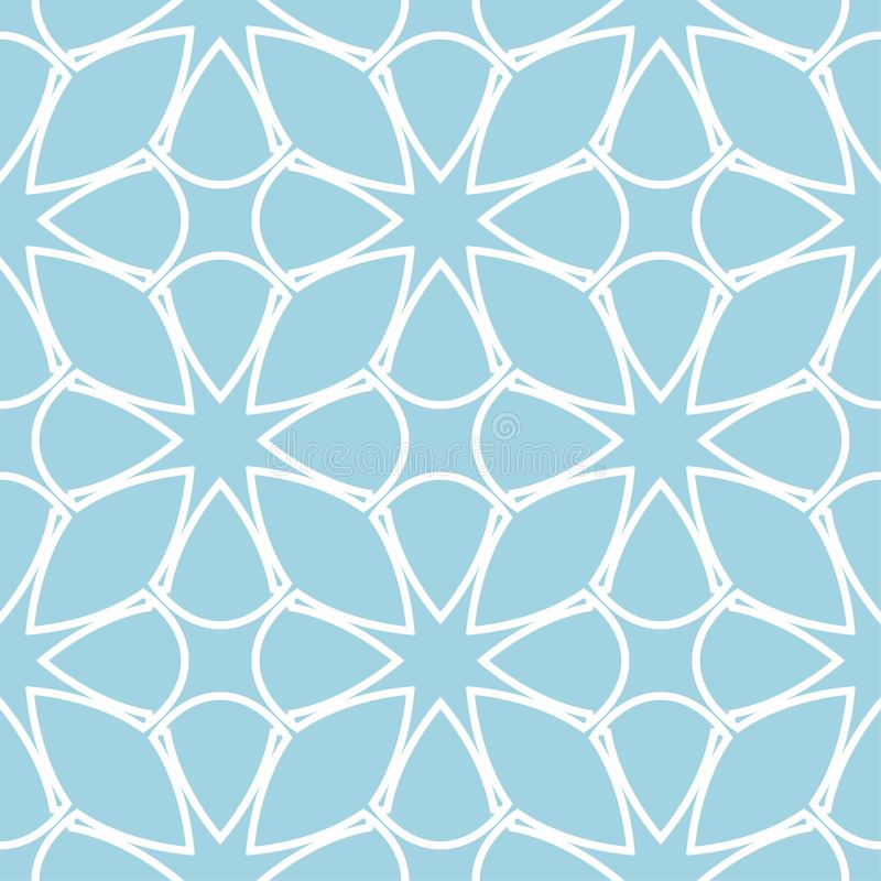 Navy blue and white geometric ornament. Seamless pattern vector illustration