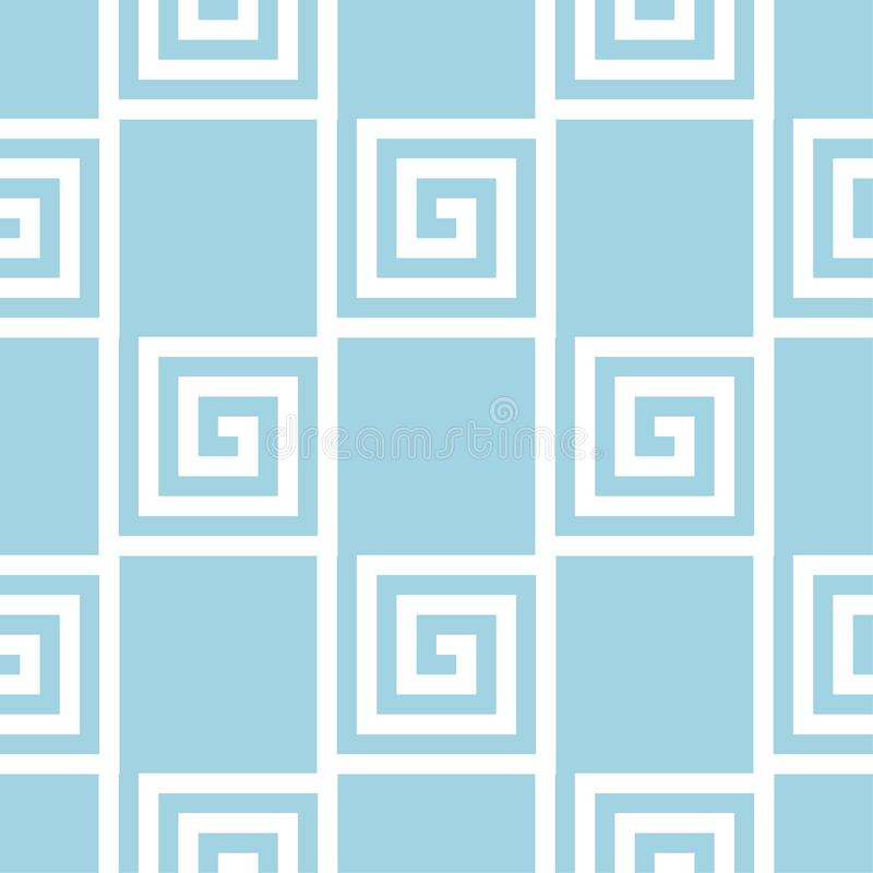 Navy blue and white geometric ornament. Seamless pattern stock illustration