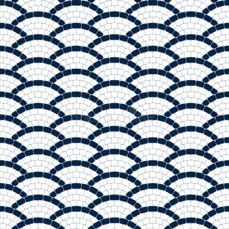 Navy blue and white geometric wave stone mosaic seamless pattern, vector background royalty free illustration