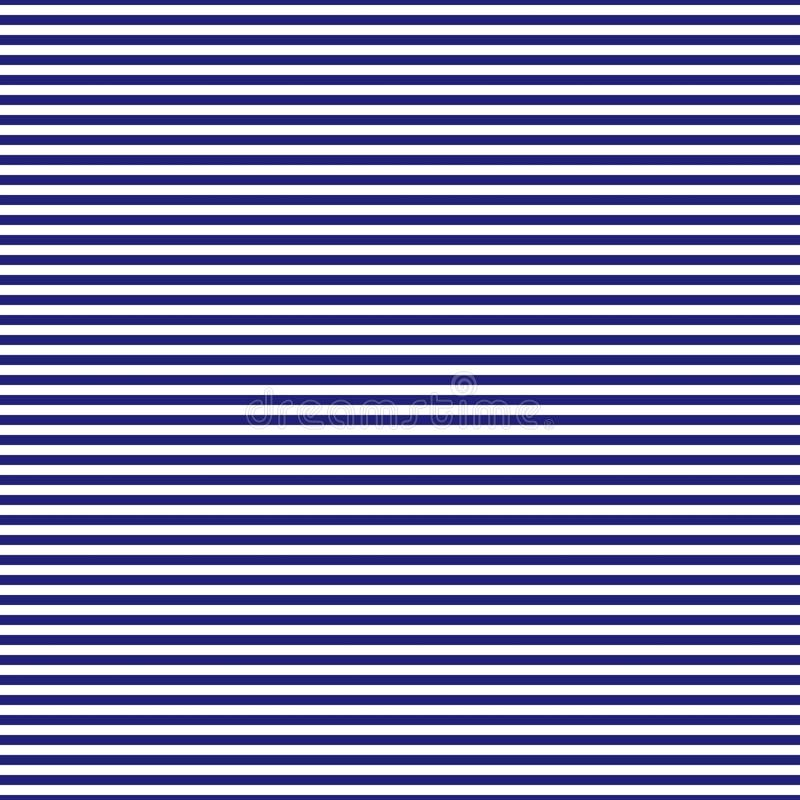 Navy blue and white horizontal stripes seamless pattern stock illustration