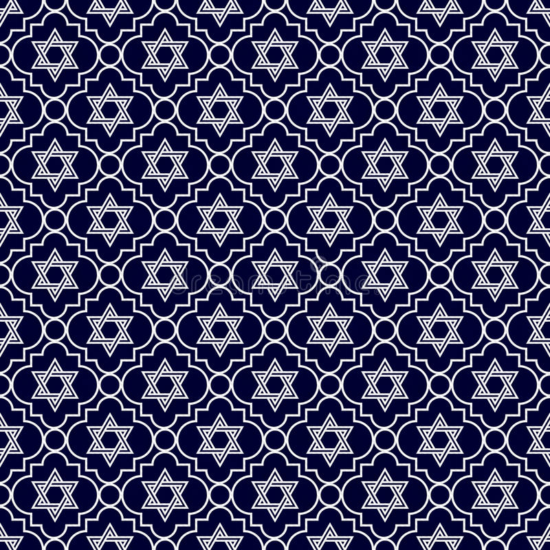 Navy Blue and White Star of David Repeat Pattern Background stock illustration